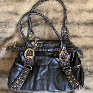 Kathy Van Zeeland blue metallic purse
